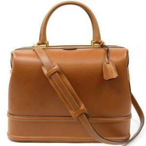 Auth GUCCI VINTAGE LEATHER DOCTOR TRAVEL BAG